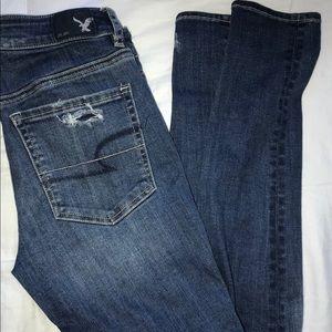 High rise distressed medium wash jeans